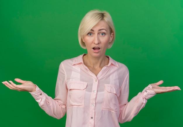 Onder de indruk jonge blonde slavische vrouw met lege handen geïsoleerd op groen
