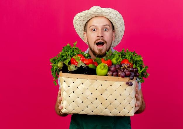 Onder de indruk jonge knappe slavische tuinman in uniform en hoed met mand met groenten geïsoleerd op karmozijnrode muur met kopie ruimte
