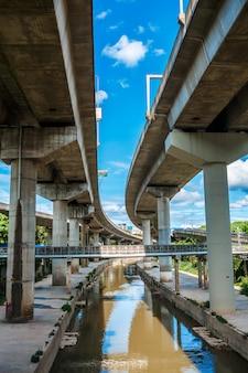 Onderaanzicht bovengrondse spoorlijn in een moderne stad. stedelijke architectuur