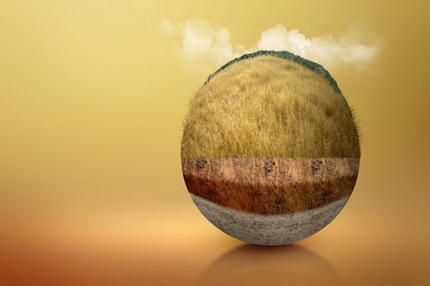 Ondergrondse bodemlaag van doorsnede aarde met savanne op de top. milieu concept