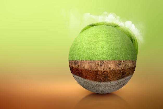 Ondergrondse bodemlaag van doorsnede aarde met weide op de top. milieu concept