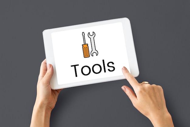 Onderhoudsgereedschap kit pictogram grafisch op het scherm van het digitale apparaat
