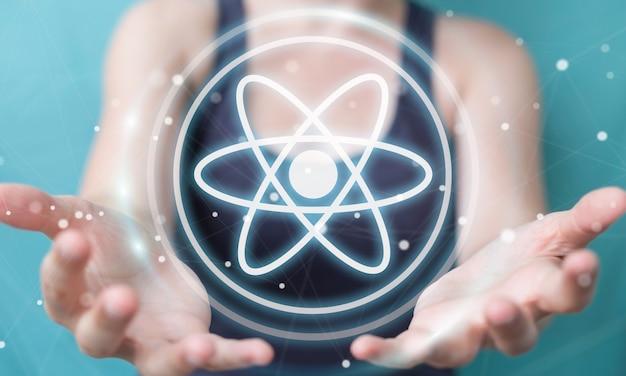 Onderneemster die het moderne moleculestructuur 3d teruggeven gebruiken