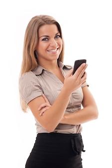 Onderneemster die mobiele telefoon met behulp van