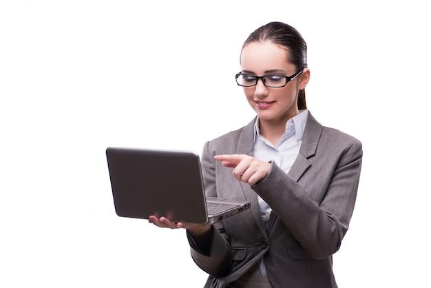 Onderneemster met laptop op wit wordt geïsoleerd dat