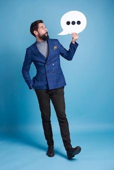 Ondernemer met tekstballon