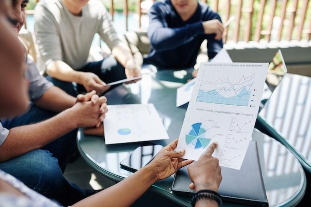 Ondernemer rapport bespreken met collega's