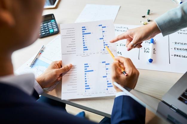Ondernemers die de resultaten van de enquête analyseren