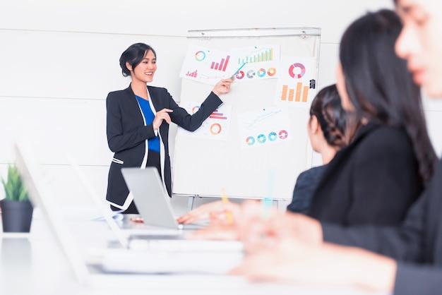 Ondernemers ontmoeten en bespreken met collega's in vergaderruimte