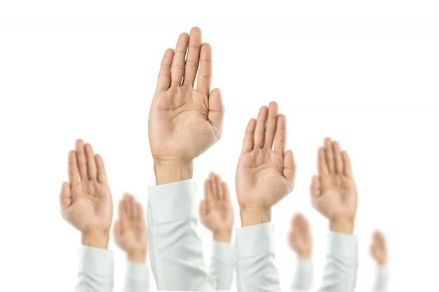 Ondernemers staken hun hand op om de viering van de organisatie te winnen. het concept van het bedrijf is gericht op succes.