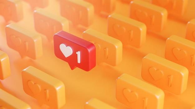 Onderscheid het concept van het pictogram van de melding van de liefde in de rij 3d-rendering oranje achtergrond