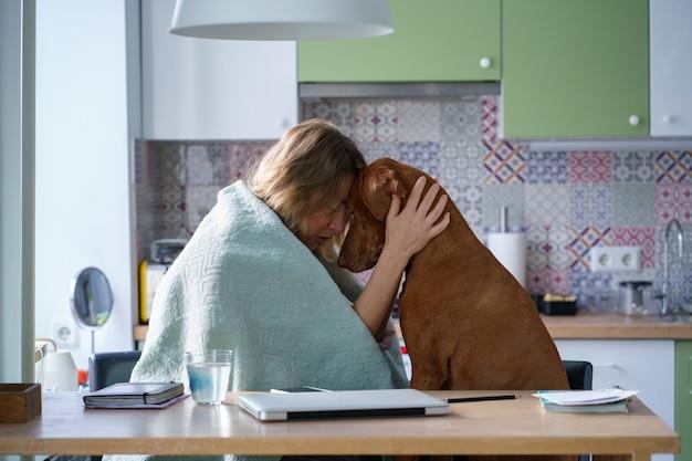 Ondersteuning van huisdiervriend: huilende vrouw die kalme troostende hond knuffelt die alleen in de keuken zit, moe van het zoeken naar een nieuwe baan of appartement na het uiteenvallen met vriend, echtscheiding met echtgenoot. depressie concept