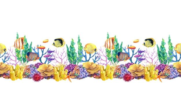 Onderwater naadloze herhaling grens met koraalrif en vissen