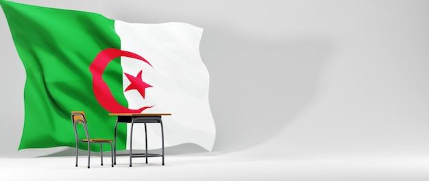 Onderwijs concept. 3d bureau en de vlag van algerije op witte achtergrond.