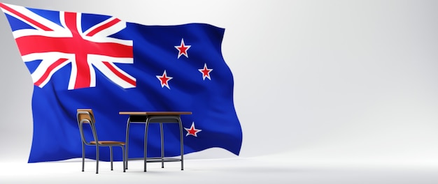 Onderwijs concept. 3d bureau en de vlag van australië op witte achtergrond.