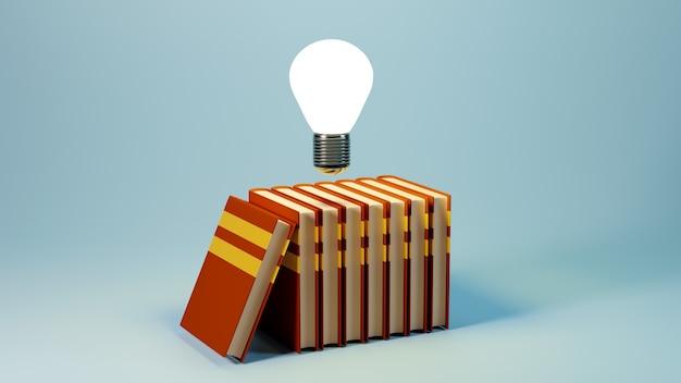 Onderwijs concept. 3d geef van boek terug, modern vlak ontwerp isometrisch concept
