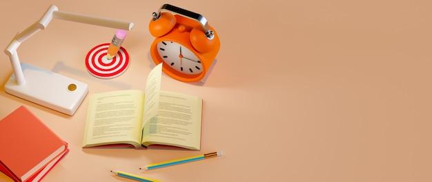 Onderwijs concept. 3d render van boek en potlood, moderne platte ontwerp isometrische concept