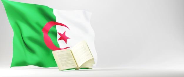 Onderwijs concept. 3d van boek en algerije vlag op witte achtergrond.