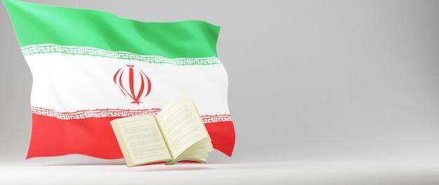 Onderwijs concept. 3d van boek en iran vlag op witte achtergrond.