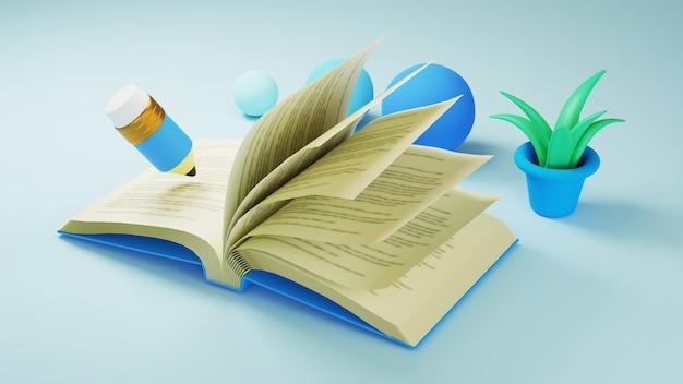 Onderwijs concept. 3d van boek en potlood op blauwe toonoppervlakte. modern plat ontwerp isometrisch concept van onderwijs. terug naar school.