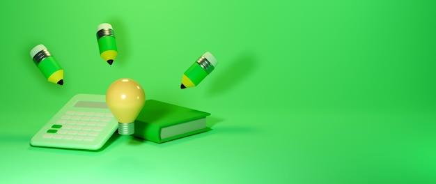 Onderwijs concept. 3d van boek, potlood. modern plat ontwerp isometrisch concept