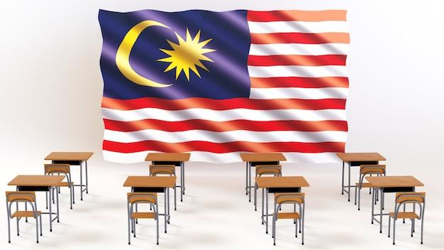 Onderwijs concept. 3d van bureaus en maleisië op witte achtergrond.