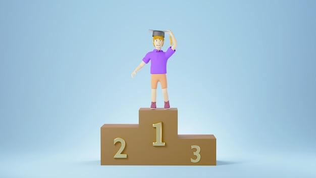 Onderwijs concept. 3d van een jongen die een gediplomeerde hoed op podium op blauwe muur draagt. modern plat ontwerp isometrisch concept van onderwijs. terug naar school.