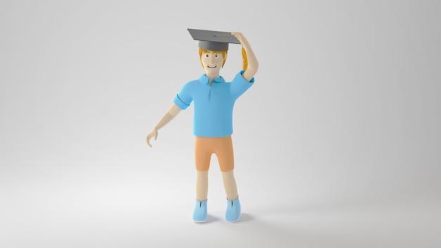 Onderwijs concept. 3d van een jongen die een gediplomeerde hoed op wit oppervlak draagt. modern plat ontwerp isometrisch concept van onderwijs. terug naar school.