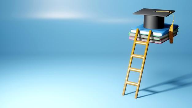 Onderwijs concept. 3d van hoed op boeken op blauwe achtergrond. modern plat ontwerp isometrisch concept van onderwijs. terug naar school.