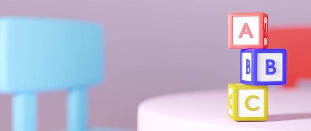 Onderwijs concept. 3d van tekstvak op roze achtergrond. modern plat ontwerp isometrisch concept van onderwijs. terug naar school.