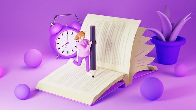 Onderwijs concept. 3d van vrouw die het boek op roze toonoppervlakte schrijft. modern plat ontwerp isometrisch concept van onderwijs. terug naar school.