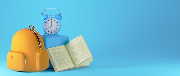 Onderwijsconcept. 3d van boek en tas op blauwe achtergrond.