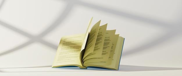 Onderwijsconcept. 3d van boek op witte achtergrond.