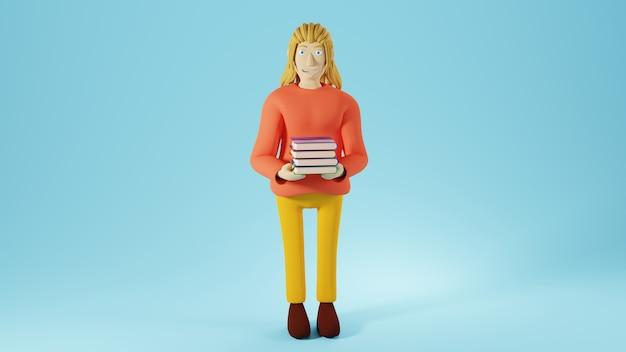 Onderwijsconcept. 3d van een vrouw met boeken op blauwe achtergrond.
