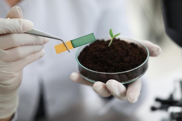 Onderzoeker houdt een glazen kolf met een kleine steel vast met aarde en een ph-teststrip