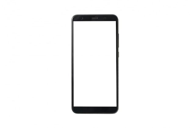 Onechte omhoog mobiele telefoon die op witte achtergrond wordt geïsoleerd. mockup