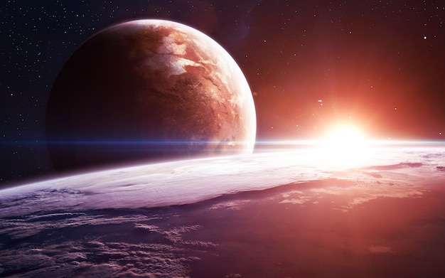 Oneindige ruimteachtergrond met nevels en sterren.