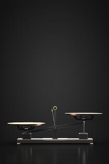 Ongebalanceerde kettlebell-weegschalen. donkere kamer. kopieer ruimte.