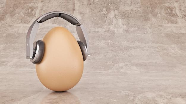 Ongebruikelijk cartoon ei in koptelefoon 3d-rendering