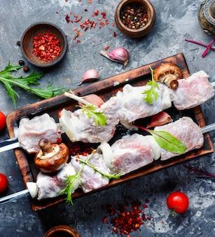 Ongekookt vlees kebab met kruiden