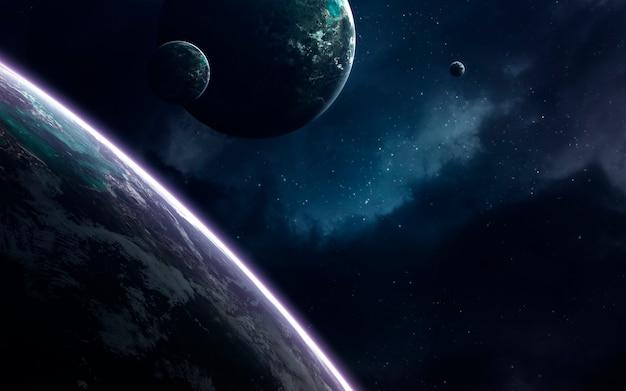 Ongelooflijk mooie planeten, melkwegstelsels, donkere en koude schoonheid van een eindeloos universum