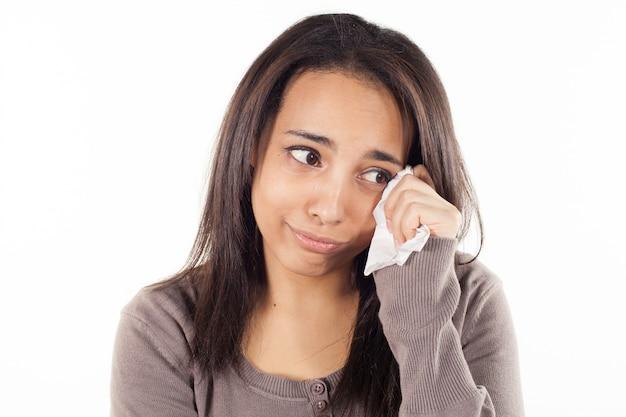 Ongelukkige vrouw huilen