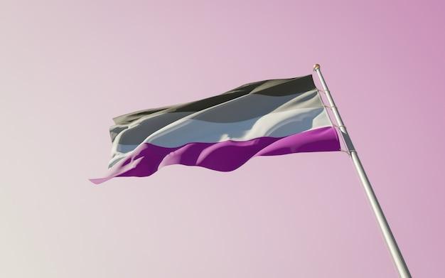 Ongeslachtelijke trotsvlag op kleurenachtergrond