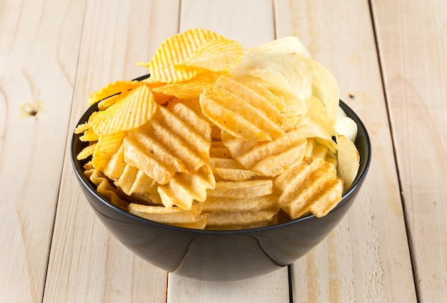 Ongezonde chips knapperige plak chip
