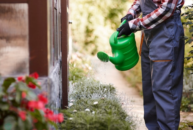 Onherkenbare tuinman die bloemen water geeft