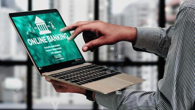 Online bankieren voor conceptuele digitale geldtechnologie