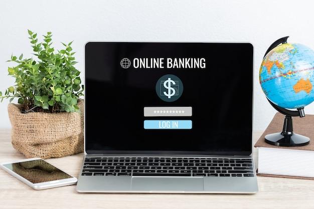 Online bankzaken en cyberbeveiligingsconcept: wachtwoord voor inlogaccount van laptopcomputer, dollarteken op schermpictogrammen op kantoor aan huis. ideeën voor e-commerce financiële van internetbank.