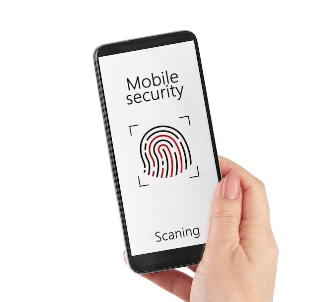 Online betaling biometrische identificatie concept vrouwelijke hand met smartphone