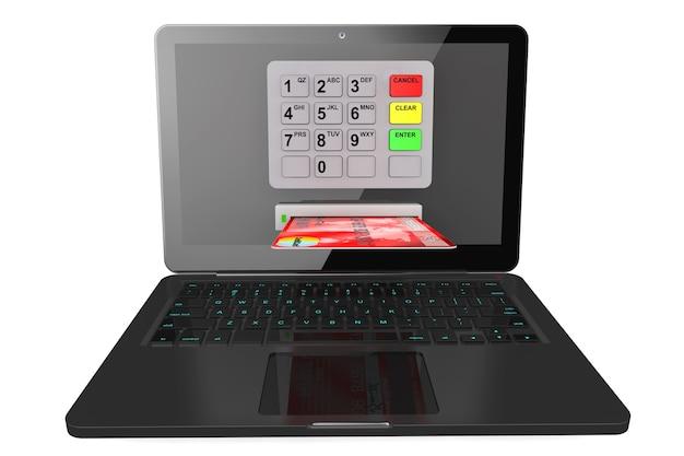 Online betalingen concept. moderne laptop met geldautomaat en creditcard op een witte achtergrond