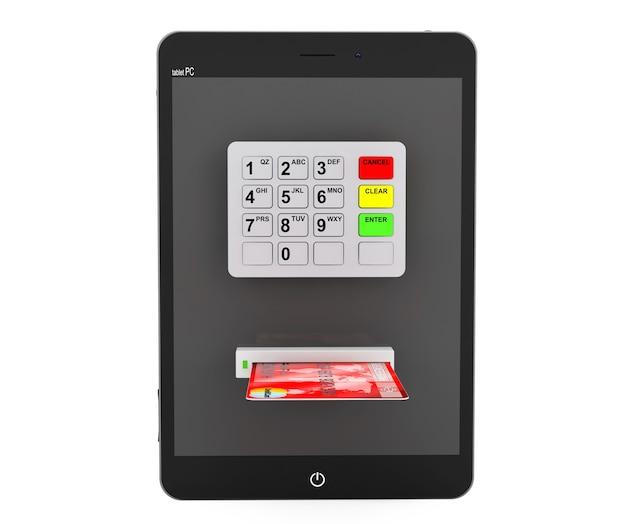 Online betalingen concept. tablet pc met geldautomaat en creditcard op een witte achtergrond